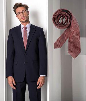 Cravate étroite Slim Line, Couleur Prince de Galles Rouge, Lavable