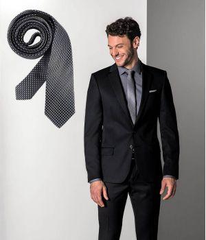 Cravate étroite Slim Line, Couleur Noir et Gris à carreaux, lavable