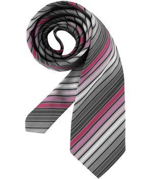 Cravate, rayures Rose et gris, lavable