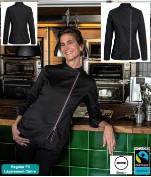 Veste de Cuisine Femme, Noire avec Fermeture Zippée Rose, Regular fit