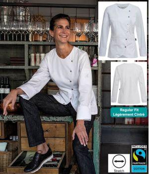 Veste de Cuisine Blanche Femme, Stretch, Boutons Pression, Regular fit