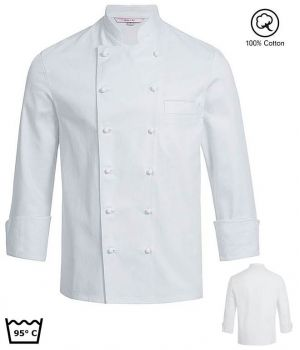 Veste de Cuisine Blanche, Manches Longues, 100% Coton, Poche poitrine
