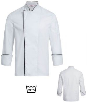 Veste de Cuisine Blanche avec Passepoil noir, Boutons Pression masqués