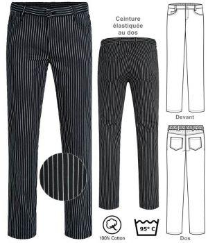 Pantalon de Cuisine et Service, Rayé Noir et Blanc, Coton, Peut Bouillir