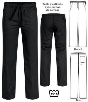 Pantalon Noir de Cuisine et de Service, Taille entièrement élastiquée