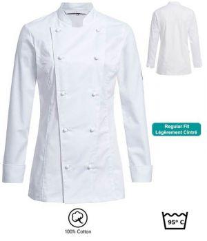 Veste de Cuisine Femme, Blanche, Coupe Regular fit, Poche sur manche