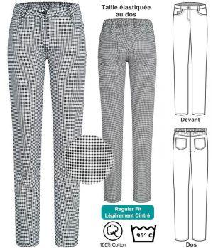 Pantalon Femme de Cuisine et de Service, Pepita Noir et Blanc, Coton