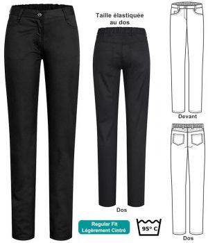 Pantalon Femme, Noir, Polyester Coton, Peut Bouillir, Taille élastiquée au dos