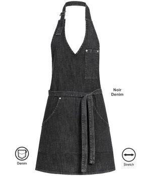 Tablier pour Femme, Noir Denim, Coutures Contrastées et Rivets