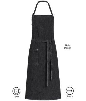 Tablier à bavette, Tablier de Cuisine Noir Denim, 80 x 100 cm, 1 poche