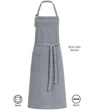 Tablier à bavette, Tablier de Cuisine Gris clair Denim, 80 x 100 cm, 1 poche