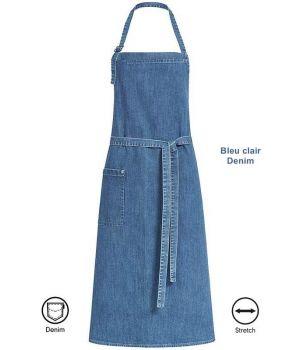 Tablier à bavette, Tablier de Cuisine Bleu clair Denim, 80 x 100 cm, 1 poche