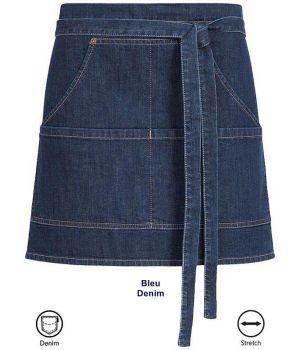 Tablier de service, style Jeans Bleu Denim, Coton et Stretch, 40 cm x 77 cm