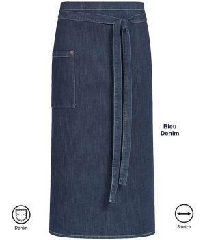 Tablier bistro style Jeans Bleu Denim, coutures contrastées et rivets, Coton Stretch
