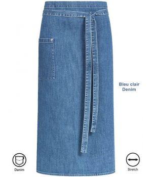 Tablier Bistro Bleu clair Denim, Coutures Contrastées et Rivets, Coton Stretch
