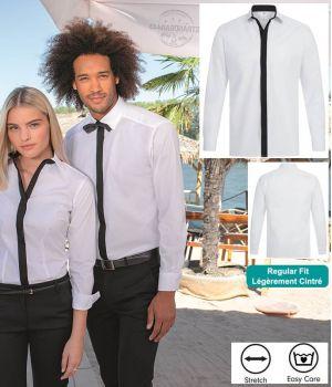 Chemise Manches Longues, Blanc et détails noirs, Regular fit, Stretch
