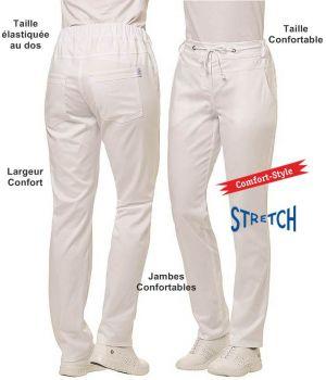 Pantalon Blanc Femme, Taille Elastiquée au Dos, Stretch, Comfort Style
