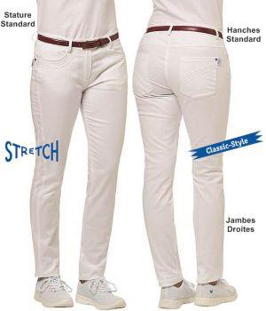Pantalon Blanc Femme, Poches Latérales et Arrière avec Liseré, Stretch