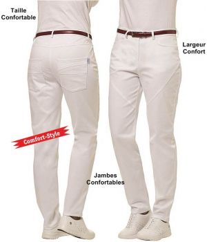 Blanc Femme5 PochesLargeur Pantalon Très Confortable De Jambe XilwTPZuOk