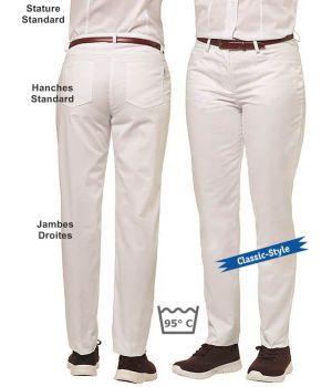 Jean Blanc Femme, 5 poches, Jambes droites, Peut Bouillir