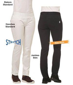 Pantalon Femme, Coupe Slim Fit, Elastiqué à la taille, Stretch