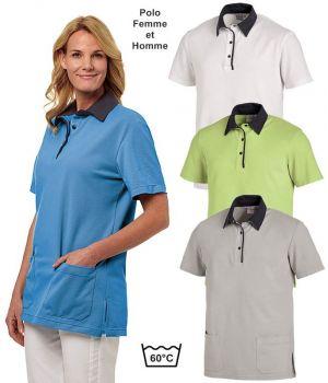 Polo Femme et Homme Bicolore, 2 Poches Latérales Renforcées