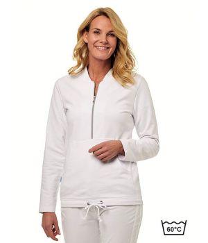 Sweat Shirt Femme Blanc, Fermeture à Glissière, Poche Kangourou