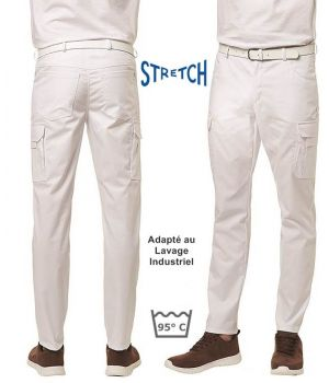 Pantalon Blanc Cargo Homme, Tissu Stretch Confort, Peut Bouillir