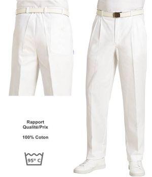 Pantalon Homme Blanc, 100% Coton Serrgé, Peut Bouillir, Coupe Confort