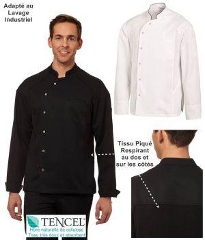 Veste de Cuisine, Tencel™ Confort et Polyester, Empiècements en Tissu Piqué