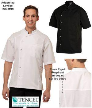 Veste de Cuisine, Manches Courtes, Tencel™ Confort et Polyester, Empiècements en Piqué