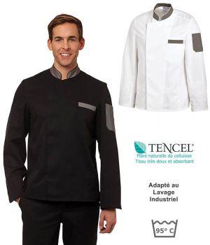 Veste de Cuisine, Manches Longues, Tencel Confort et Polyester, Pression