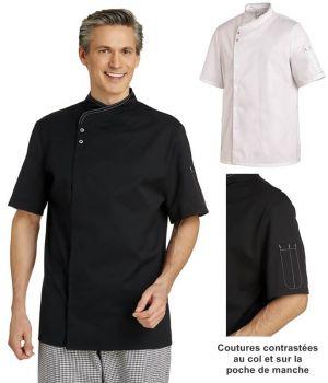 Veste de Cuisine, Manches courtes, Coutures contrastées au col et sur poche manche