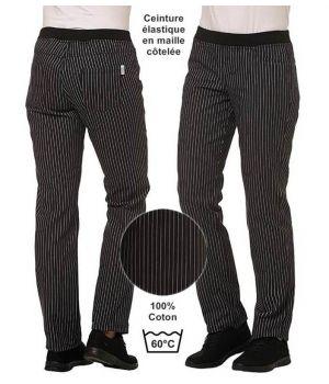 Pantalon de Cuisine Femme, Ceinture Elastique en Maille Côtelée, Coton