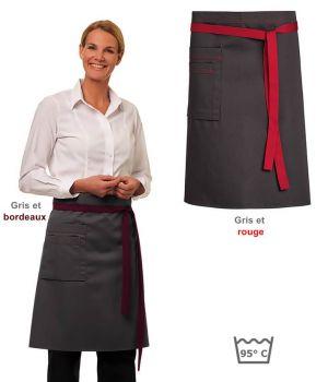 Tablier Cuisine, Tablier Serveur, Tablier Serveuse, Bicolore, 60 x 80 cm