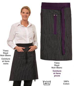 Tablier Cuisine, Serveur, Serveuse, Rayures Noir Blanc, 60 x 80 cm