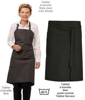 Tablier à Bavette, Style Jeans Tendance, Poches et Rivets