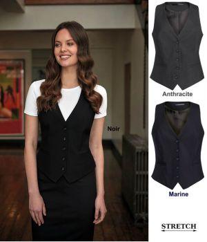 Gilet de Tailleur Femme, 5 Boutons, Tissu Stretch Confortable et Résistant