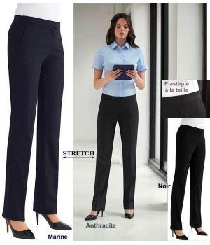 Pantalon Femme, Elastiqué à la taille, Tissu Stretch Confortable et Résistant