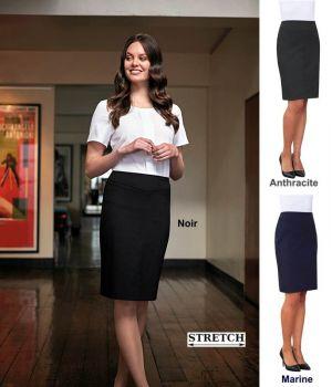 Jupe Droite, Coutures Décoratives Devant, Tissu Stretch Confortable et Résistant