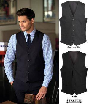 Gilet de Costume Homme, 5 Boutons, Tissu Stretch Confortable et Résistant