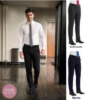 Pantalon Homme, Coupe Ajustée, Tissu Stretch Confortable et Résistant
