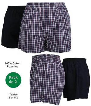 Short Homme, Coton Popeline de Qualité, Coupe Confort, Pack de 2