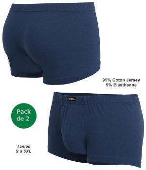 Boxer Bleu Homme, Pack de 2, Ceinture Élastique Souple de Confort, Sans Coutures Latérales