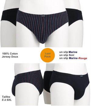 Slips Ceceba Homme, Pack de 3, 100% Coton Jersey Doux
