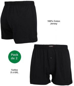 Short Noir, Sous Vêtement Homme, Pack de 2, Ceinture Confort en Jersey