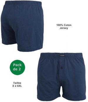 Short Bleu, Sous Vêtement Homme, Pack de 2, Ceinture Confort en Jersey