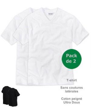 Tee-shirt Maillot de corps, Col V, Sans coutures latérales, Coton peigné, Le pack de 2