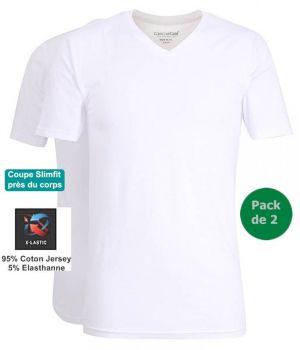 Maillot de Corps, T-shirt, Blanc, Coupe Slim, Doux et Confortable