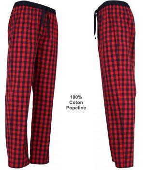 Pantalon de Détente ou de Pyjama, 100% Coton Popeline, Rouge à Carreaux